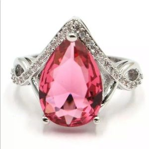 Pink Tourmaline and CZ Ring sz 9.25 New